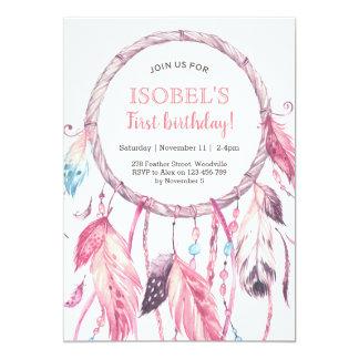Colourful Pink Dream Catcher Birthday Invitation
