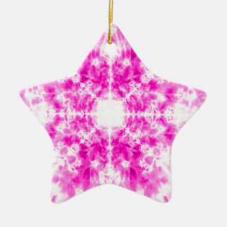 Colourful pink kaleidoscope pattern ceramic star decoration