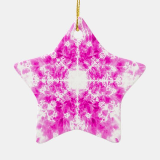 Colourful pink kaleidoscope pattern christmas ornament