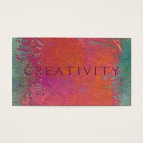 Colourful pink orange modern art painting business card