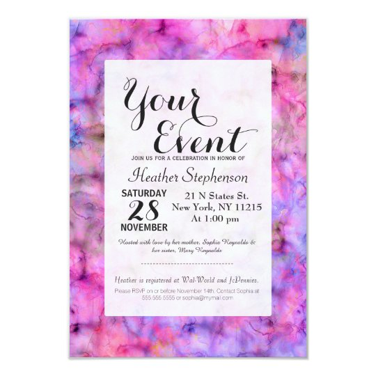 Colourful Pink Purple Mixed Watercolor Pattern Card