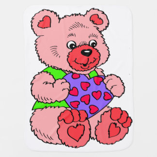 Colourful  Pink Teddy Bear Baby Blanket