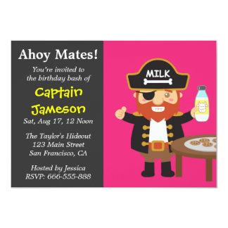 Colourful Pirate Captain Theme Birthday Party 13 Cm X 18 Cm Invitation Card