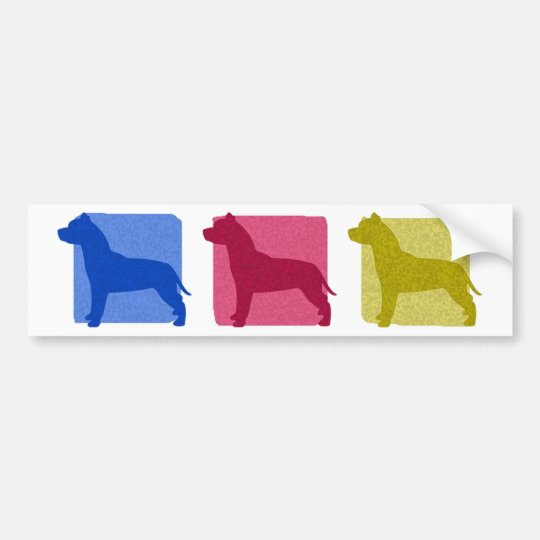 Colourful Pit Bull Silhouettes Bumper Sticker