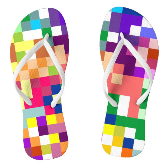 Colourful Pixelate with White Straps Flip Flops