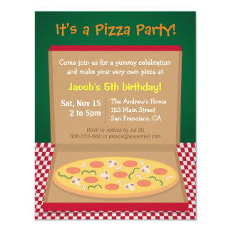 Colourful Pizza Kids Birthday Party 11 Cm X 14 Cm Invitation Card