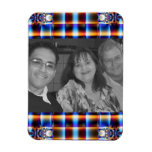 colourful plaid pattern photoframe vinyl magnet