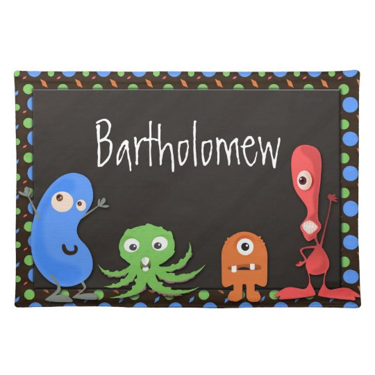 Colourful Playful Monsters Boys Placemat