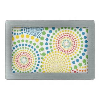Colourful pointillism pattern belt buckle