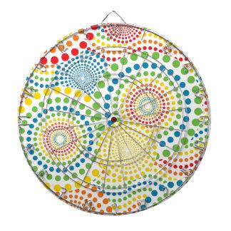 Colourful pointillism pattern dartboard