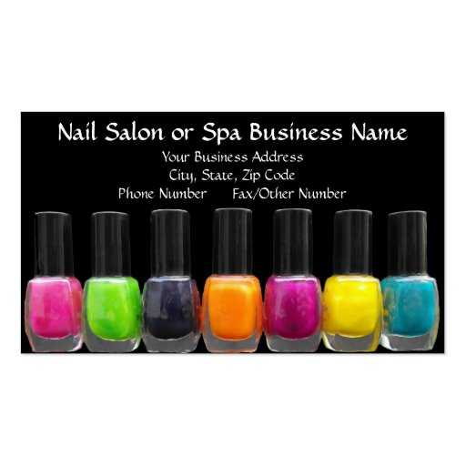 Create your own nail technician business cards colourful polish bottles nail salon appointment business card templates fbccfo Images