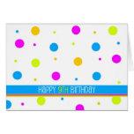 Colourful Polka Dot 9th Birthday Card