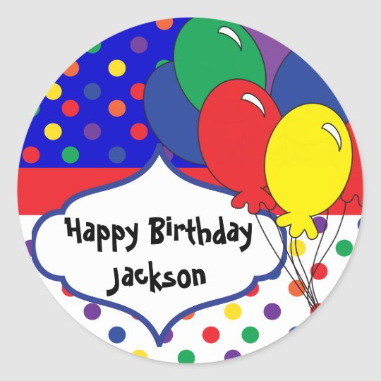 Colourful Polka Dot Birthday Classic Round Sticker