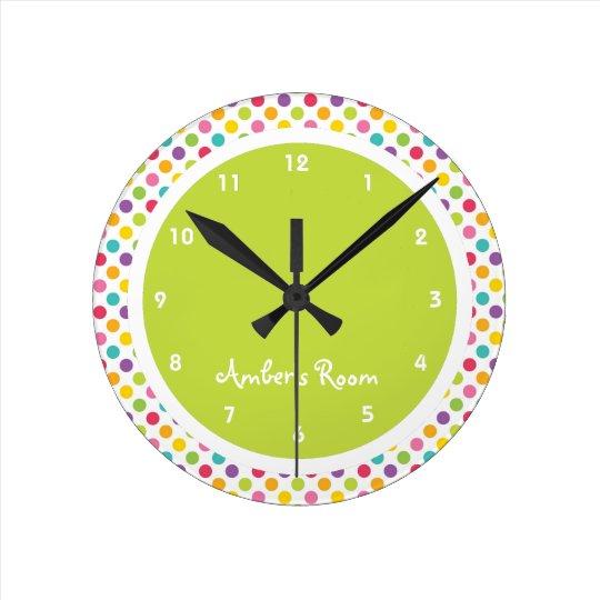 Colourful Polka Dot Kid's Bedroom Round Clock