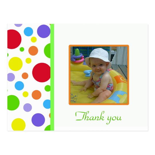 Colourful Polka-dot: Picture: Thank You Card