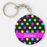Colourful Polka Dots - Girly Name Keychain
