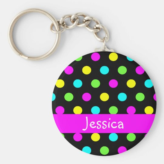 Colourful Polka Dots - Girly Name Keychain