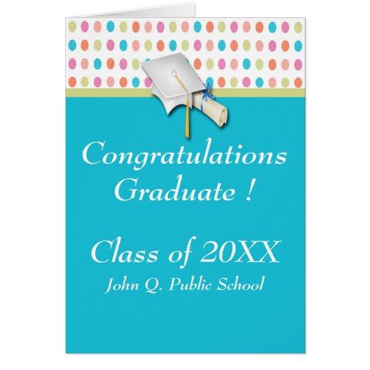 Colourful Polka Dots Graduation Greeting Cards