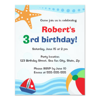 Colourful pool or beach party invitation for kids