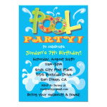 Colourful Pool Party Invitations