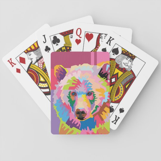 Colourful Pop Art Bear Portrait Playing Cards