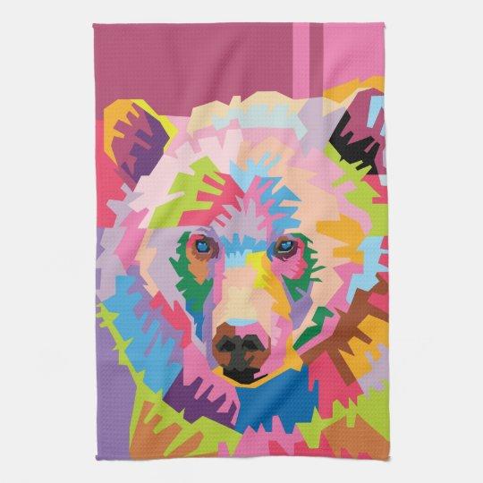 Colourful Pop Art Bear Portrait Tea Towel