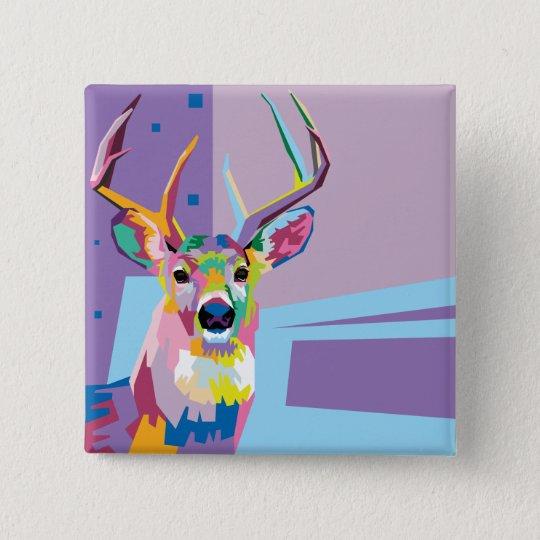Colourful Pop Art Deer Portrait 15 Cm Square