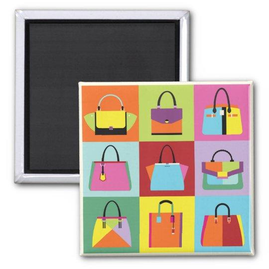 Colourful pop art feminine bags magnet
