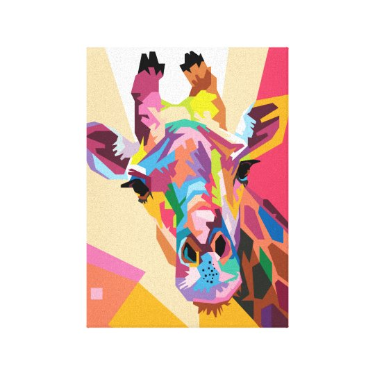 Colourful Pop Art Giraffe Portrait Canvas Print