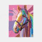 Colourful Pop Art Horse Portrait Fleece Blanket