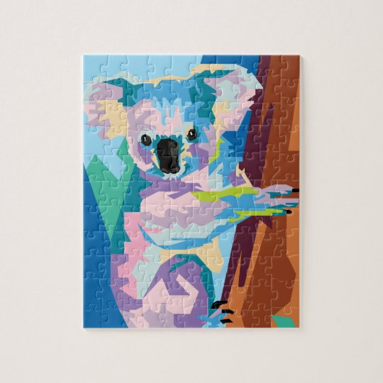 Colourful Pop Art Koala Portrait Jigsaw Puzzle
