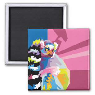 Colourful Pop Art Lemur Portrait Magnet