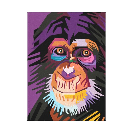 Colourful Pop Art Monkey Portrait Canvas Print