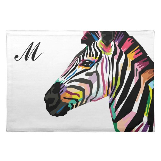 Colourful Pop Art Zebra Monogrammed Placemat