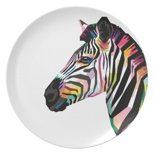 Colourful Pop Art Zebra on White Background Plate