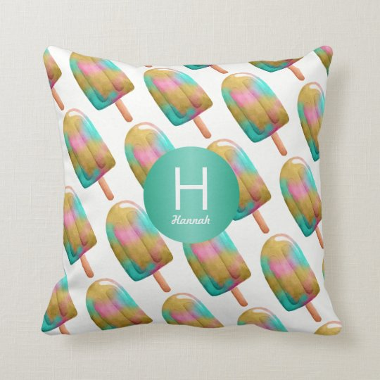Colourful Popsicle Pattern with Your Monogram Cushion