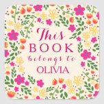 Colourful Pretty Floral This Book Belongs Stickers