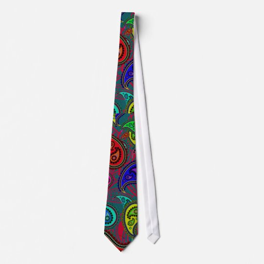 Colourful Psychedelic Floral Paisley Retro Pattern Tie