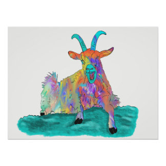 Colourful psychedelic funny goat design poster