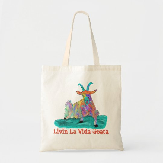 Colourful psychedelic funny goat tote