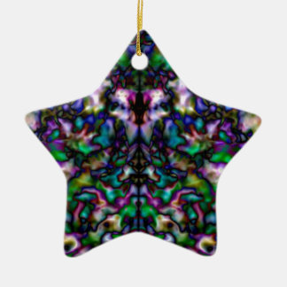 Colourful psychedelic kaleidoscope pattern christmas ornament