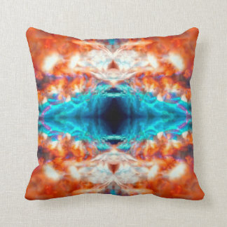 Colourful psychedelic kaleidoscope pattern throw pillow
