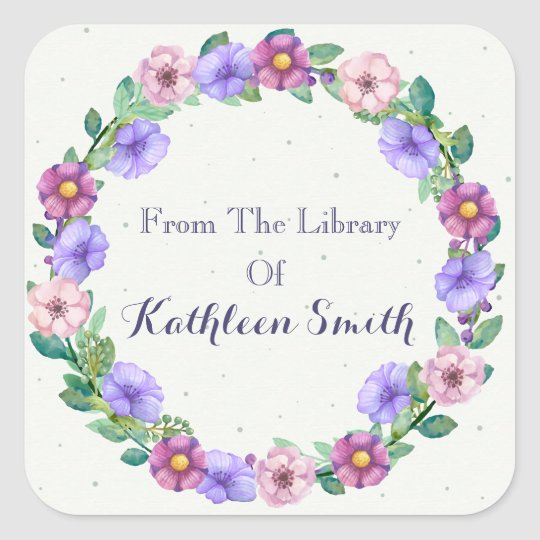 Colourful Purple And Pink Floral Wreath Bookplate Square