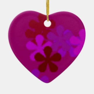 Colourful Purple Flowers >Heart Ornaments