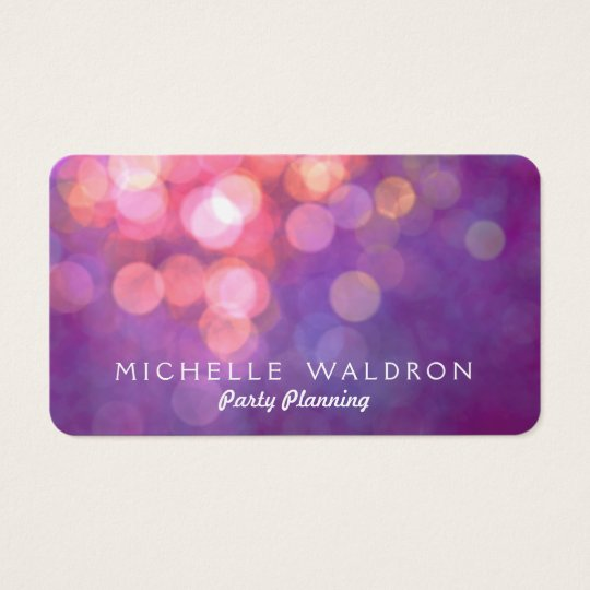 Colourful Purple Party Planner Bokeh Business Card