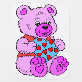 Colourful Purple  Teddy Bear Baby Blanket