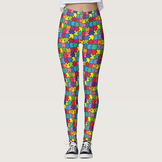 Colourful Puzzle Piece Autism Awareness Leggings
