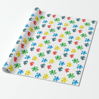 Colourful puzzle piece design wrapping paper