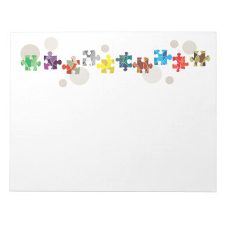Colourful puzzle pieces design notepad