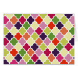 Colourful quatrefoil pattern greeting card